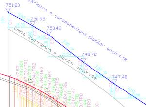 Exemplu de coronament la placi ancorate, profil longitudinal